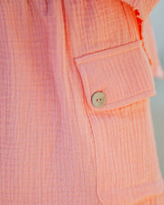 Rayan Cotton Pocketed Shorts - Bright Peach view 4