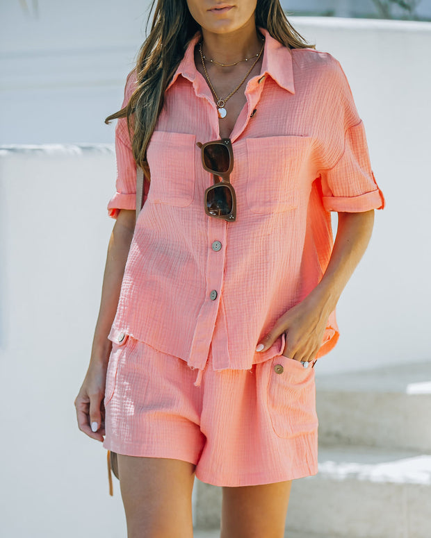 Rayan Cotton Collared Button Down Top - Bright Peach view 3