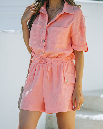 Rayan Cotton Pocketed Shorts - Bright Peach