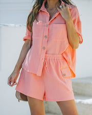 Rayan Cotton Collared Button Down Top - Bright Peach view 5