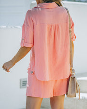 Rayan Cotton Collared Button Down Top - Bright Peach view 2
