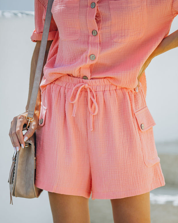 Rayan Cotton Pocketed Shorts - Bright Peach view 11