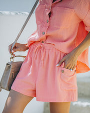Rayan Cotton Pocketed Shorts - Bright Peach view 5