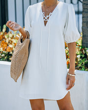 Lakeshore Linen Blend Puff Sleeve Dress - Ivory view 1