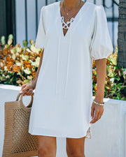 Lakeshore Linen Blend Puff Sleeve Dress - Ivory view 5