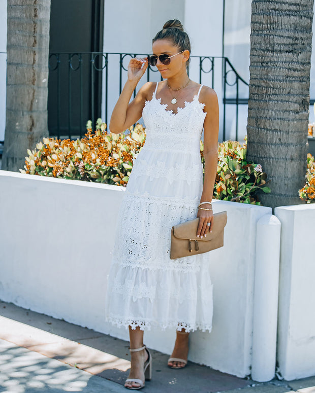 Devoted Cotton Lace Eyelet Midi Dress view 1