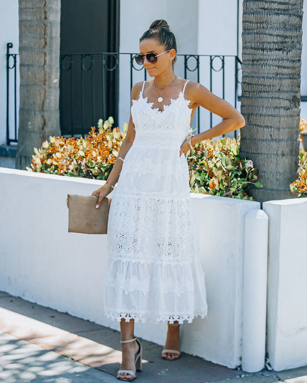 Devoted Cotton Lace Eyelet Midi Dress view 9