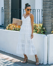 Devoted Cotton Lace Eyelet Midi Dress view 3