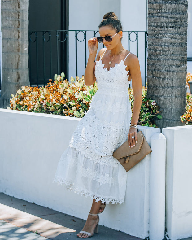 Devoted Cotton Lace Eyelet Midi Dress view 6