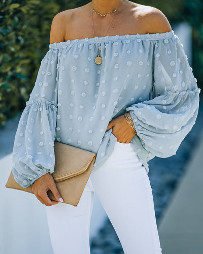 Laughter Swiss Dot Off The Shoulder Blouse - Light Blue