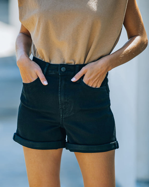 Lindsay High Rise Cuffed Denim Mom Shorts view 3