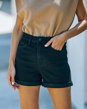 Lindsay High Rise Cuffed Denim Mom Shorts view 1