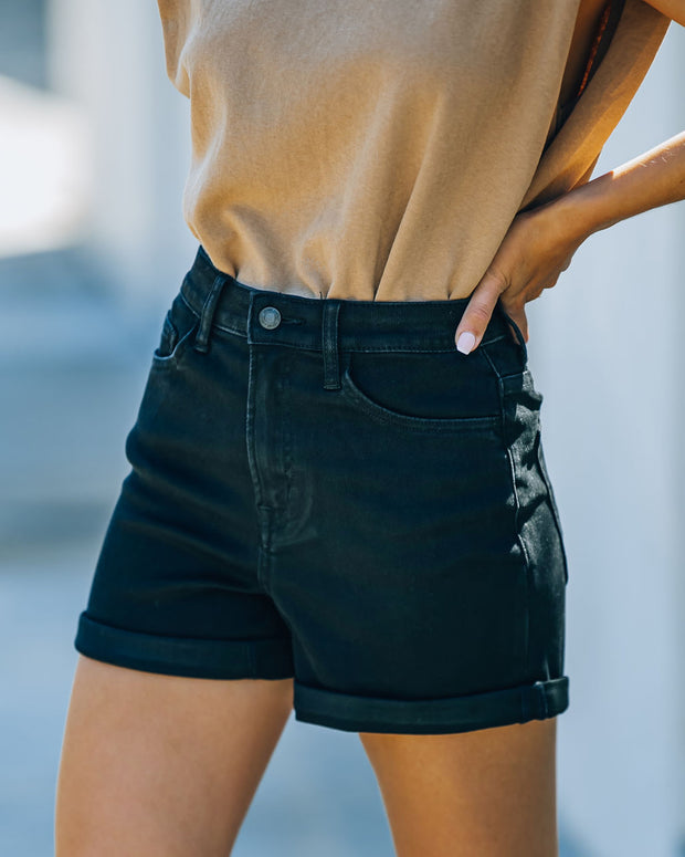 Lindsay High Rise Cuffed Denim Mom Shorts view 5