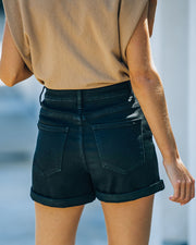 Lindsay High Rise Cuffed Denim Mom Shorts view 2