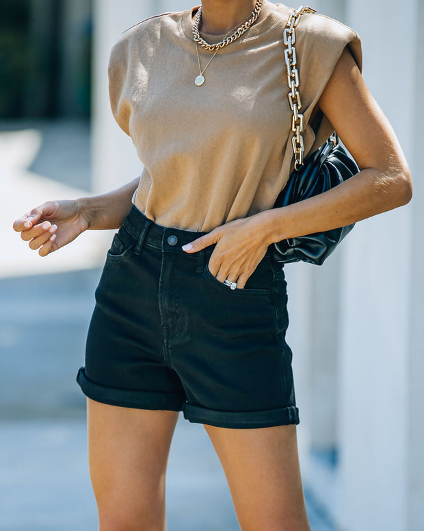 Lindsay High Rise Cuffed Denim Mom Shorts view 9