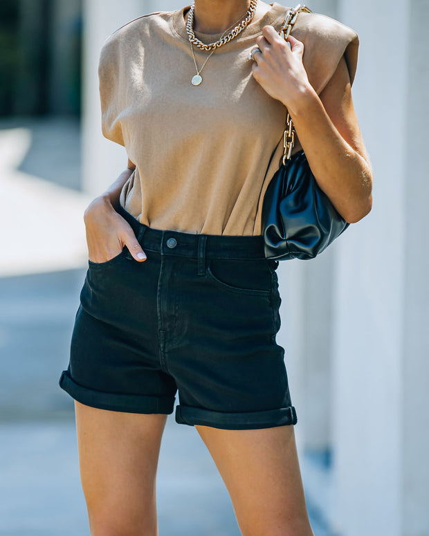 Lindsay High Rise Cuffed Denim Mom Shorts view 7