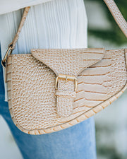 Ace Croc Embossed Shoulder Bag - Nude view 4