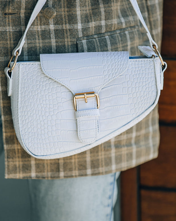 Ace Croc Embossed Shoulder Bag - White view 4