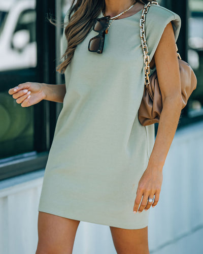 Hilton Cotton Blend Padded T-Shirt Dress - Olive