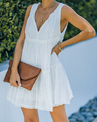Beach Walk Textured Babydoll Dress