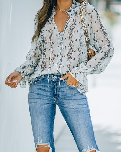 Katana Snake Print Button Down Blouse