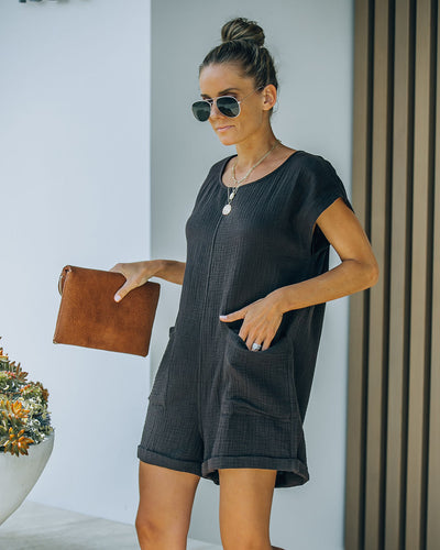 Keep Your Cool Cotton Pocketed Relaxed Romper - Black Coffee
