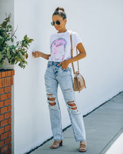 Bass High Rise 90's Acid Wash Distressed Denim view 1