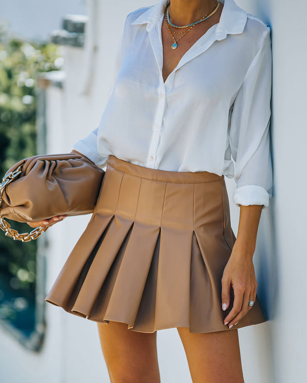 Evie Faux Leather Pleated Tennis Skirt - Beige