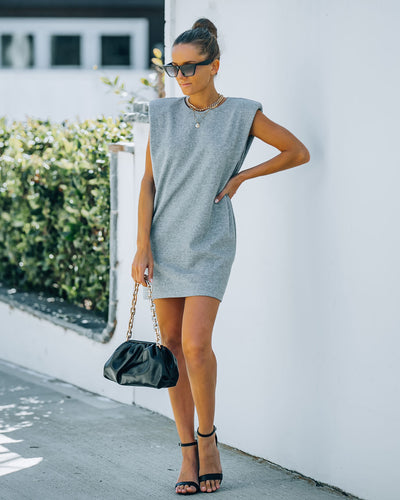 Hilton Cotton Blend Padded T-Shirt Dress - Heather Grey