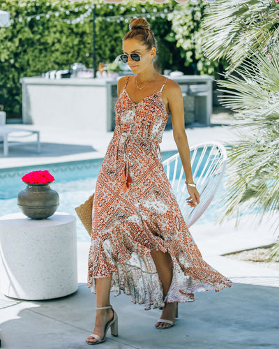 Spin Me Around Printed High Low Maxi Dress - Brick