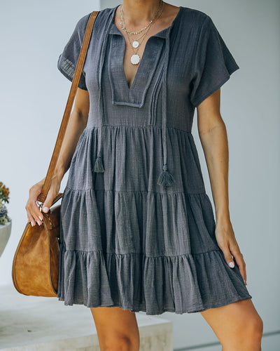 Rudra Cotton Tiered Babydoll Tunic - Carbon