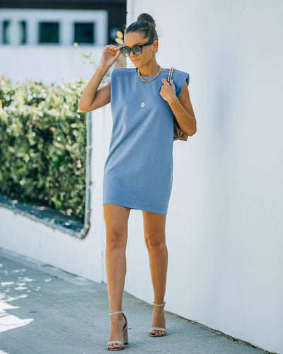Hilton Cotton Blend Padded T-Shirt Dress - Blue
