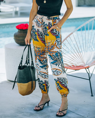 Suzannah Pocketed Tropical Print Joggers
