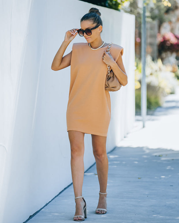 Hilton Cotton Blend Padded T-Shirt Dress - Orange