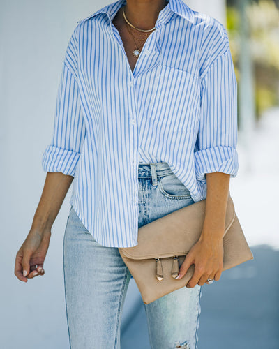 Shanay Cotton Blend Striped Button Down Shirt