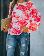 Feel It In The Air Floral Smocked Blouse view 3