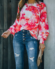 Feel It In The Air Floral Smocked Blouse view 1