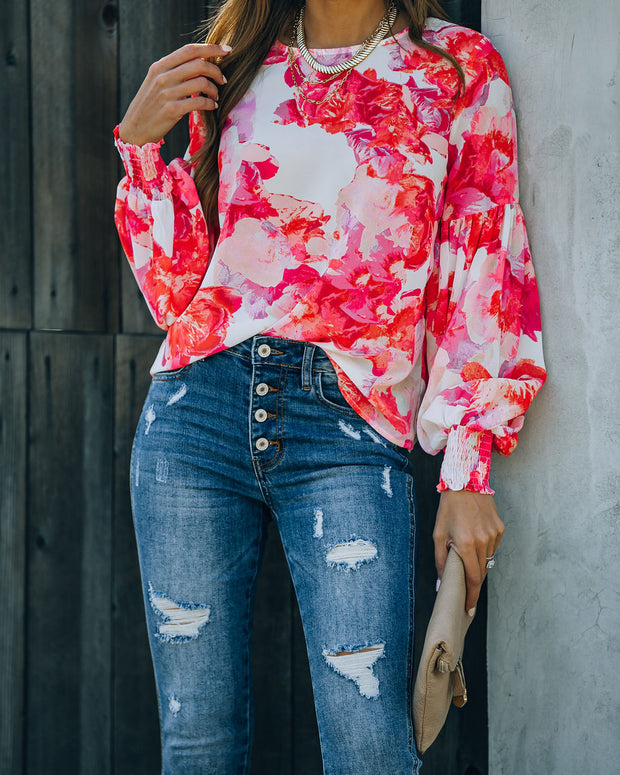 Feel It In The Air Floral Smocked Blouse view 7