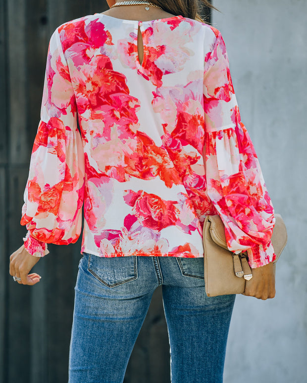 Feel It In The Air Floral Smocked Blouse view 2