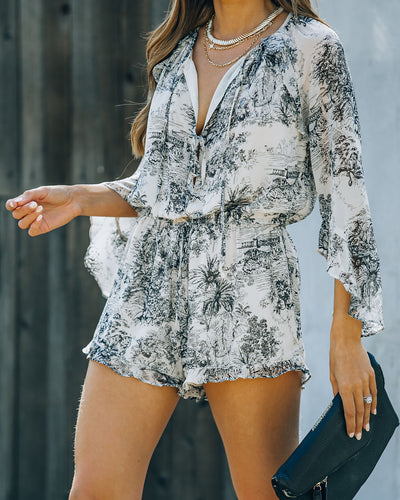 Motive Printed Bell Sleeve Romper