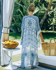 You, Me And The Sea Tassel Kimono - Navy Teal view 2