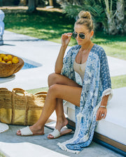 You, Me And The Sea Tassel Kimono - Navy Teal view 6