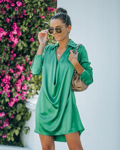 Solutions Satin Collared Drape Mini Dress - Kelly Green