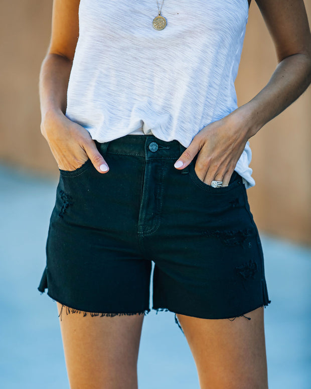 Pixie High Rise Distressed Denim Shorts view 1
