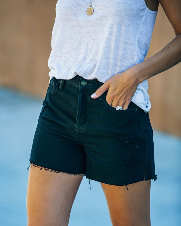 Pixie High Rise Distressed Denim Shorts view 9
