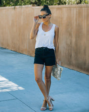 Pixie High Rise Distressed Denim Shorts view 3