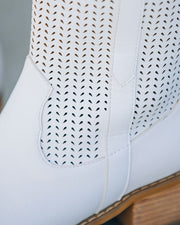 Bronco Perforated Western Boot - White view 4
