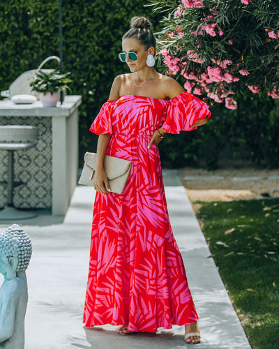 Royal Villa Palm Print Off The Shoulder Maxi Dress
