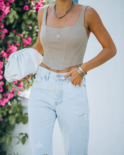 Dearly Beloved Corset Crop Top - Taupe
