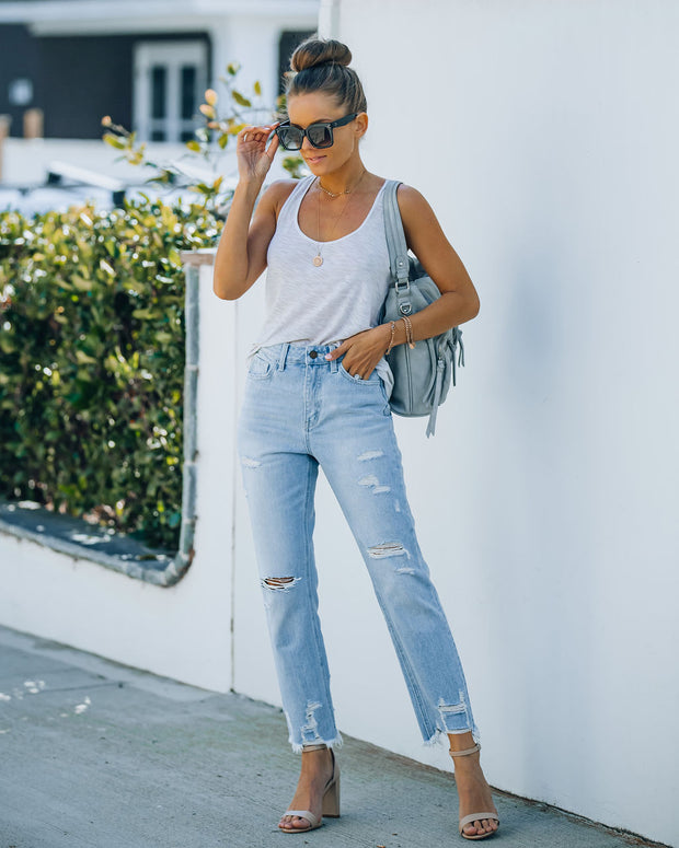 Statement High Rise Distressed Denim view 9